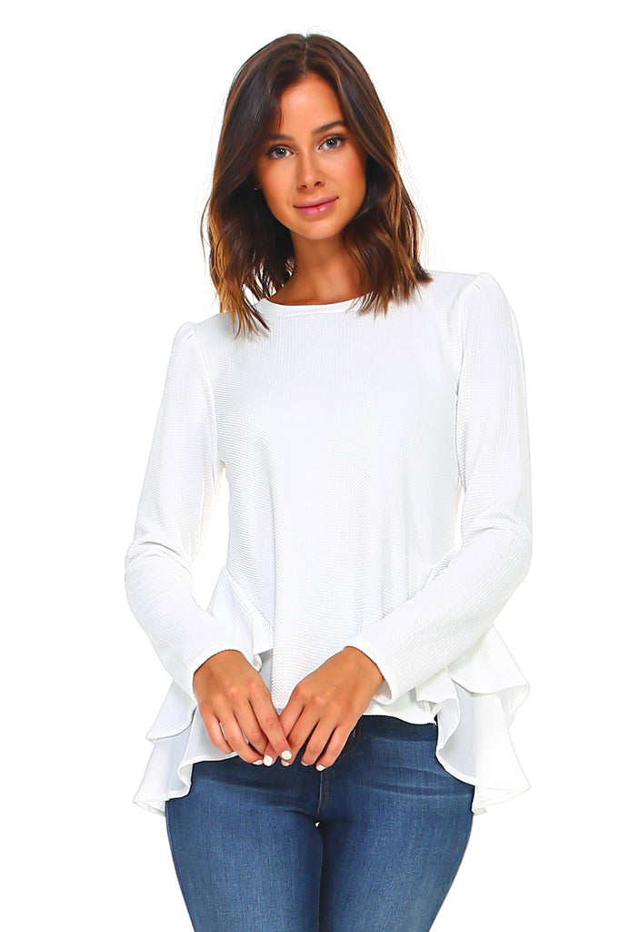 Women's Long Sleeve Ruffle Top