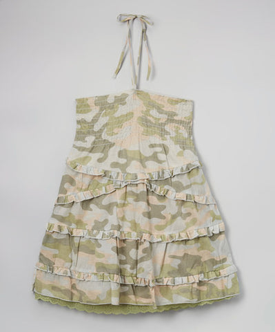 Jojo Belle Girls Camo Print Smocked Halter Top - WholesaleClothingDeals
