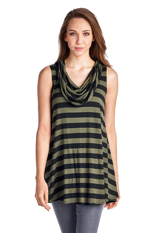 Christine V Black & Green Stripe Sleeveless Cowl Neck Tunic - WholesaleClothingDeals - 1