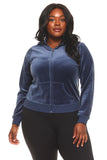 Women's Plus Size Velour Zip-Up Sweater