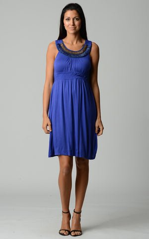 Christine V Beaded Neckline Sleeveless Dress - WholesaleClothingDeals - 1