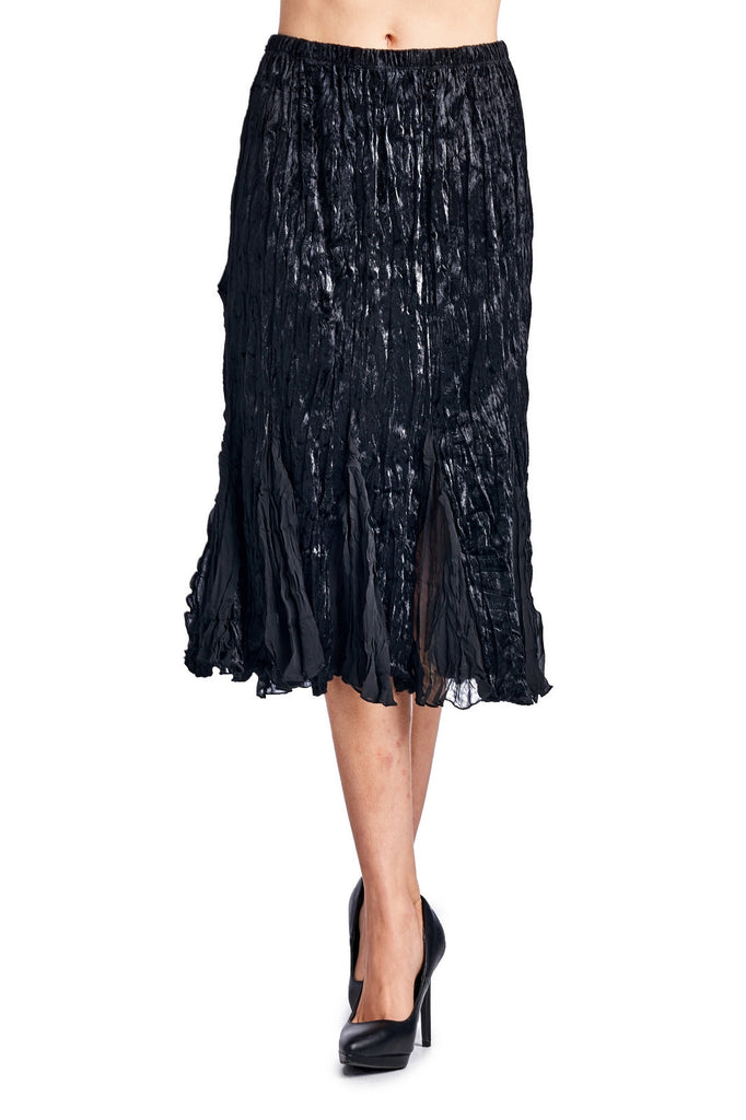 Urban Love Pleated Velour with Chiffon Long Skirt - WholesaleClothingDeals - 2