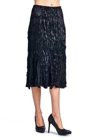 Urban Love Pleated Velour with Chiffon Long Skirt - WholesaleClothingDeals - 1