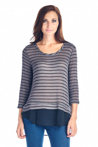 Christine V Stripe Hatchi Mix Long Sleeve Top - WholesaleClothingDeals - 1