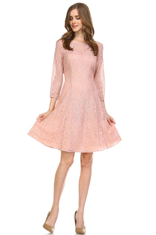 SLNY 3/4 Sleeve A-Line Sequin Dress -  - 1