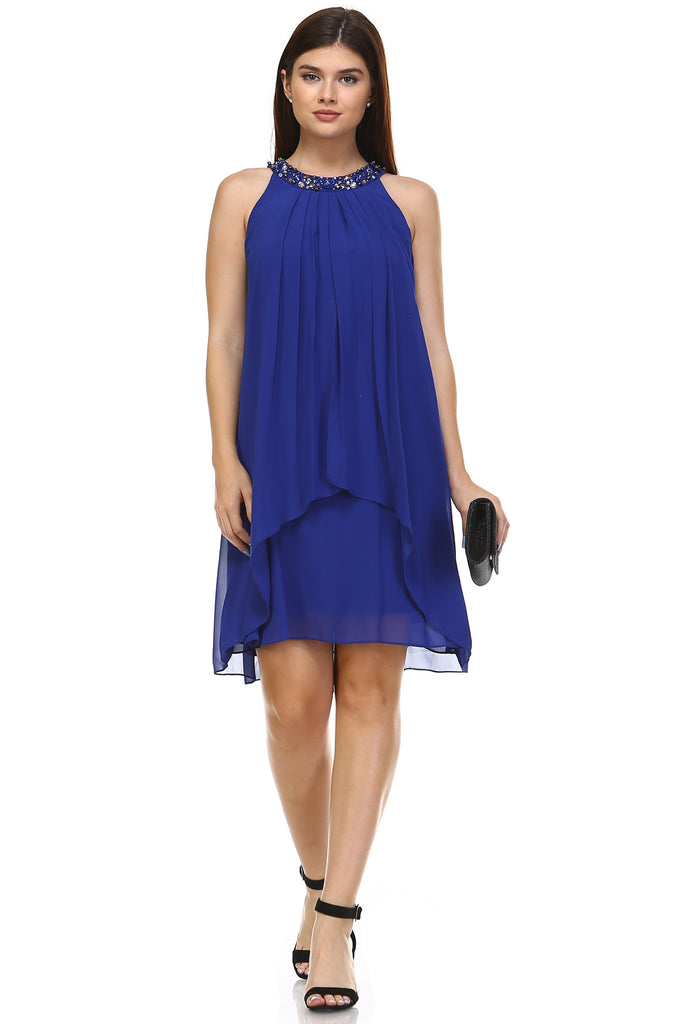 SLNY Chiffon Gem Neckline Dress - WholesaleClothingDeals - 1