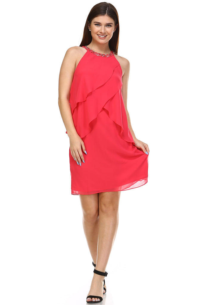 SLNY Gem Neckline Chiffon Dress - WholesaleClothingDeals - 1
