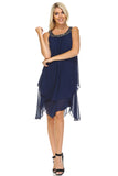 SLNY Beaded Neckline Chiffon Dress -  - 1