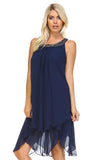 SLNY Beaded Neckline Chiffon Dress -  - 2
