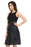 SLNY A-Line Waist Tie Textured Dress - WholesaleClothingDeals - 3