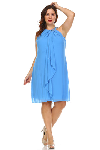 SLNY Plus Beaded Neckline Chiffon Dress - WholesaleClothingDeals - 1