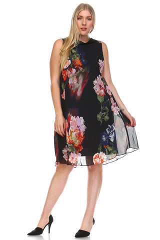 SLNY Plus Floral Back-V Collar Dress -  - 1