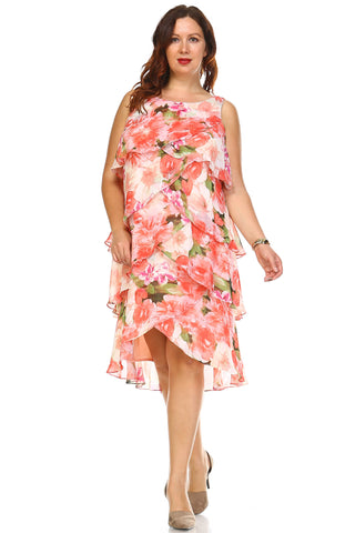 SLNY Plus Floral Layered Chiffon Dress - WholesaleClothingDeals - 1