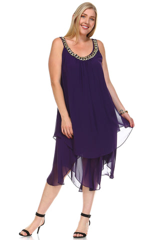 SLNY Plus Layered Necklace Dress -  - 1