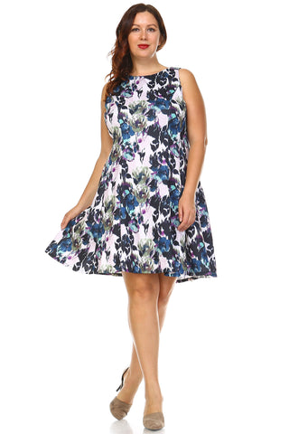 SLNY Plus Floral Print Dress - WholesaleClothingDeals - 1