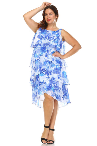 SLNY Plus Layered Chiffon Dress - WholesaleClothingDeals - 1