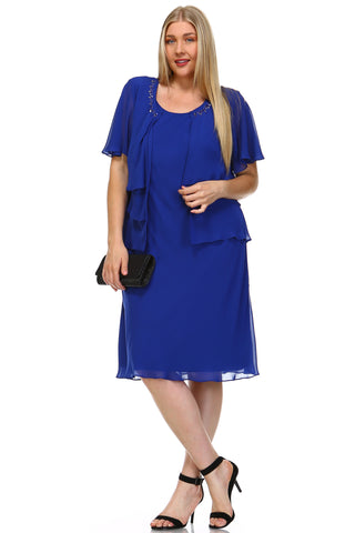 SLNY Plus Chiffon Dress w/ Beaded Neckline Chiffon Blazer -  - 1