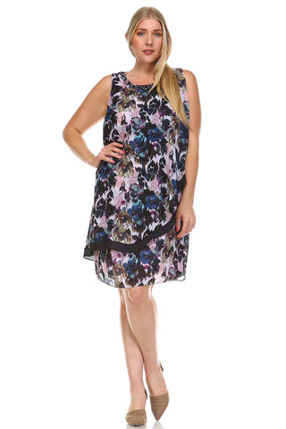 SLNY Plus Floral Gem Neckline Dress -  - 1
