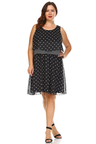 SLNY Plus Polka Dot Layered Chiffon Dress - WholesaleClothingDeals - 1