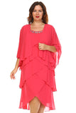 SLNY Plus Gem Stone Neckline Dress with Chiffon Cardigan - WholesaleClothingDeals - 6
