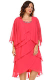 SLNY Plus Gem Stone Neckline Dress with Chiffon Cardigan - WholesaleClothingDeals - 7