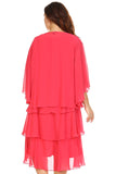 SLNY Plus Gem Stone Neckline Dress with Chiffon Cardigan - WholesaleClothingDeals - 8