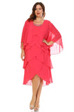 SLNY Plus Gem Stone Neckline Dress with Chiffon Cardigan - WholesaleClothingDeals - 5