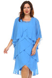 SLNY Plus Gem Stone Neckline Dress with Chiffon Cardigan - WholesaleClothingDeals - 2
