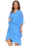 SLNY Plus Gem Stone Neckline Dress with Chiffon Cardigan - WholesaleClothingDeals - 3