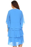 SLNY Plus Gem Stone Neckline Dress with Chiffon Cardigan - WholesaleClothingDeals - 4