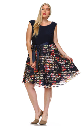 SLNY Plus A-Line Waist Tie Printed Dress -  - 1