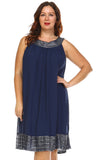 SLNY Plus Silver Embroidered Neckline Chiffon Dress - WholesaleClothingDeals - 2