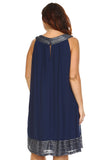 SLNY Plus Silver Embroidered Neckline Chiffon Dress - WholesaleClothingDeals - 4
