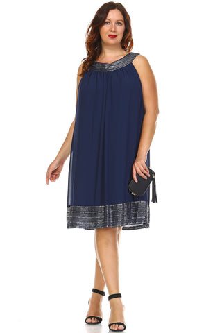 SLNY Plus Silver Embroidered Neckline Chiffon Dress - WholesaleClothingDeals - 1