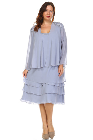 SLNY Plus Long Sleeve Beaded Neckline Dress with Chiffon Cardigan - WholesaleClothingDeals - 1