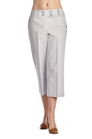 Larry Levine Front Button Stretch Capris - WholesaleClothingDeals - 1