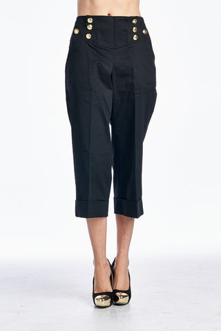 Larry Levine Hemmed Capris with Button Detail - WholesaleClothingDeals - 1
