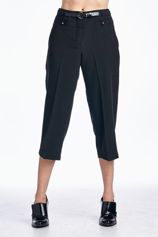 Larry Levine Stretch Capris with Belt - WholesaleClothingDeals - 1
