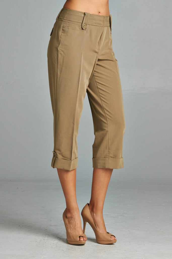 Larry Levine Capris with Cuffed Hem - WholesaleClothingDeals - 2