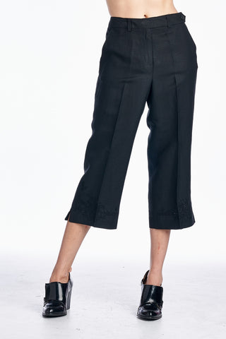 Larry Levine Capris with Tonal Embroider at Hem - WholesaleClothingDeals - 1