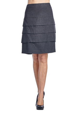 Larry Levine Stretch Tiered Pinstripe Skirt - WholesaleClothingDeals - 1