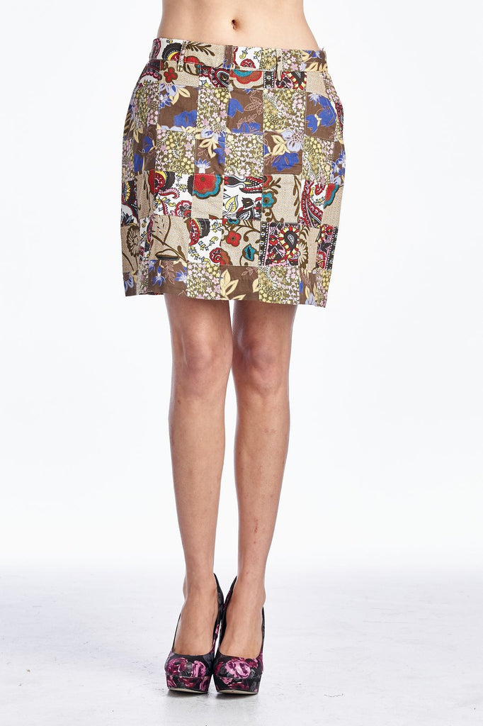 Larry Levine Batik Printed Patchwork Skirt - WholesaleClothingDeals - 1