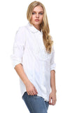 Women's 3/4 Three Quarter Sleeve Button Down Pleated Detail Top