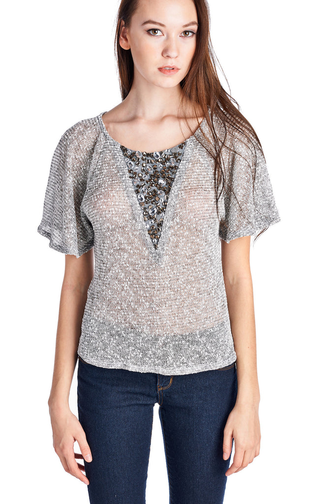 Christine V Semi-Sheer Embellished Flutter Sleeve Top - WholesaleClothingDeals - 1