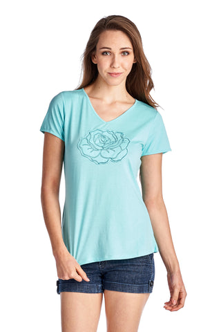 Christine V Short Sleeve Rose Embroidered V-Neck Tee - WholesaleClothingDeals - 1