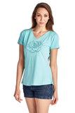 Christine V Short Sleeve Rose Embroidered V-Neck Tee - WholesaleClothingDeals - 2