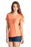 Christine V Short Sleeve Rose Embroidered V-Neck Tee - WholesaleClothingDeals - 9