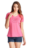Christine V Short Sleeve Rose Embroidered V-Neck Tee - WholesaleClothingDeals - 13