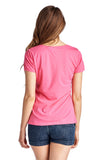 Christine V Short Sleeve Rose Embroidered V-Neck Tee - WholesaleClothingDeals - 16
