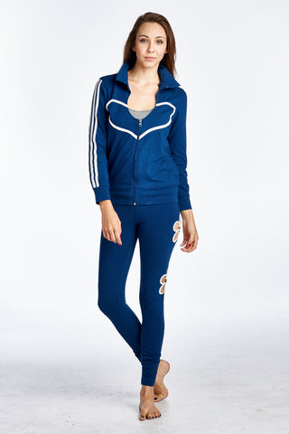 Urban Love Stripe Sleeve Heart Detail Active Jacket - WholesaleClothingDeals - 1